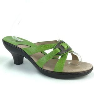 Sofft Green Leather Sandals Buckle Summer Sz 8 W